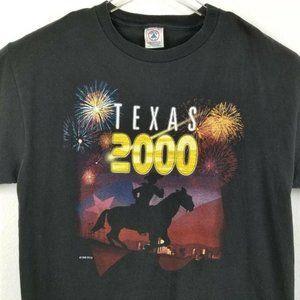 Delta Graphic T-Shirt Black Vintage Texas 2000 L
